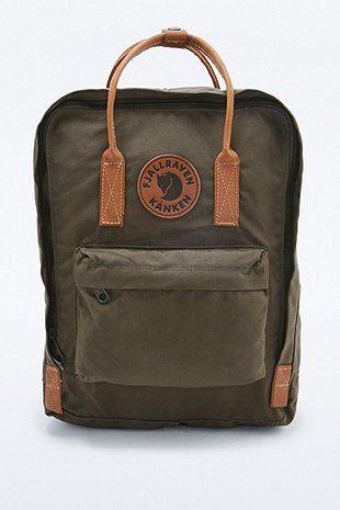 Fjallraven Kanken No. 2 Dark Olive and Leather Backpack ...