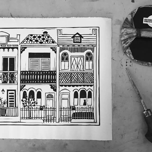 Terrace house print from a carved rubber block