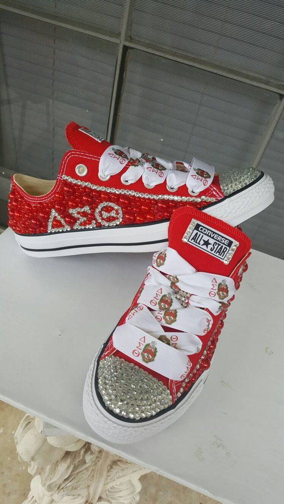 1541d92a597f Custom Rhinestone Converse Sorority Themed in 2019