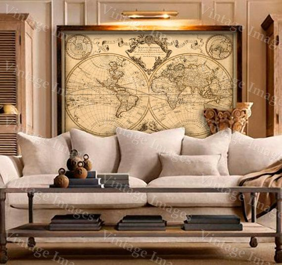 L'Isle's 1720 Old World Map Historic Map Antique Restoration Hardware Style World Map Guillaume de L'Isle mappe monde Wall Map Home Decor