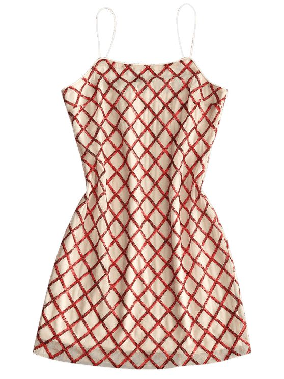 Slip Lattice Sequins Party Dress - RED S