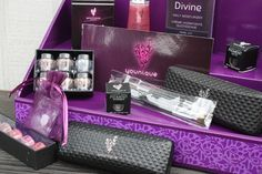 Younique Vendor and Product Display from Stack Displays. Purple with Purple Floral Design. Use at vendor events, craft shows or home parties, or as a way to organize your products in your home office!