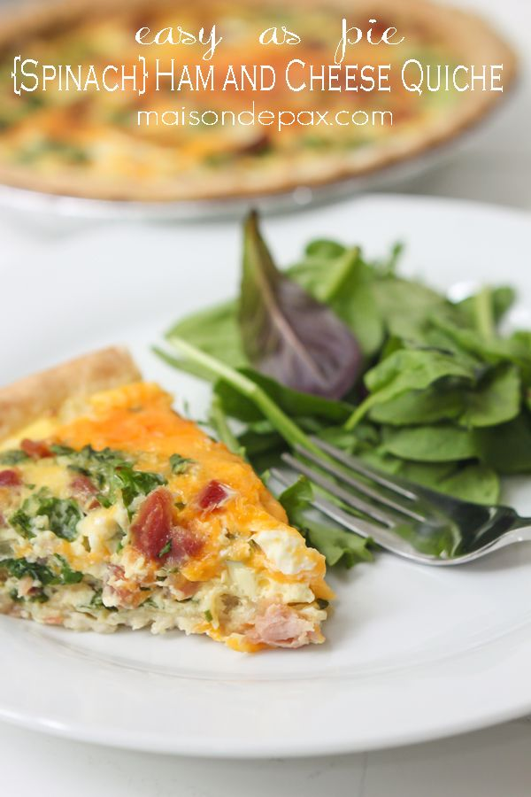Easy and delicious, this spinach, ham and cheese quiche is perfect for breakfast, lunch, or dinner! maisondepax.com #recipe #summer #alfrescodining