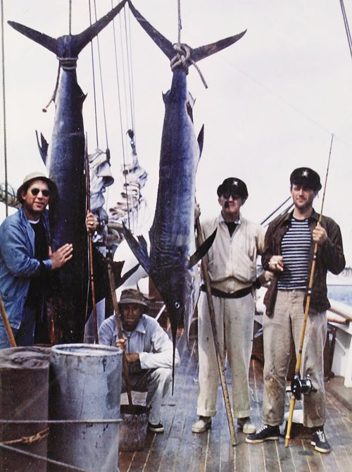 Ward Bond, Henry Fonda, John Ford, and John Wayne on a success fishing expedition.
