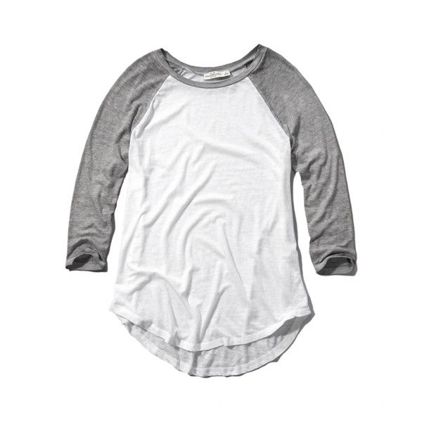 Abercrombie & Fitch Slouchy Baseball Tee ($20) ❤ liked on Polyvore featuring tops, t-shirts, shirts, tees, x, light grey, t shirts, baseball shirts, burn out tee and shirts & tops