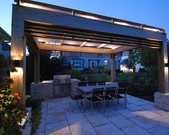Contemporary Patio Outdoor Kitchen Design, Pictures