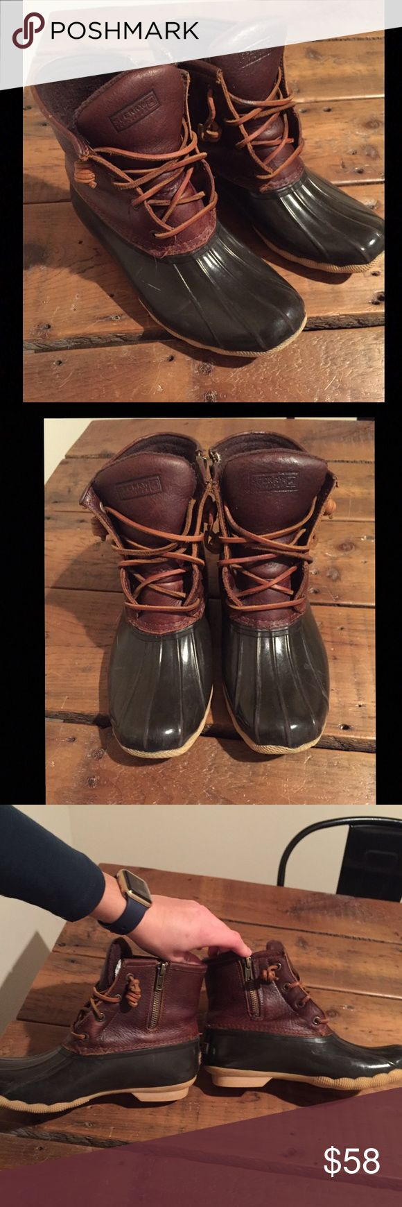 Women's Sperry Duck Boots! Used but in fantastic shape! Brown waterproof rubber with a brown leather top. Adorable boots! Sperry Shoes Winter & Rain Boots
