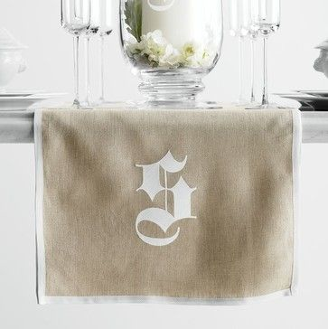 Typographer's Linen Table Runner, White transitional tablecloths