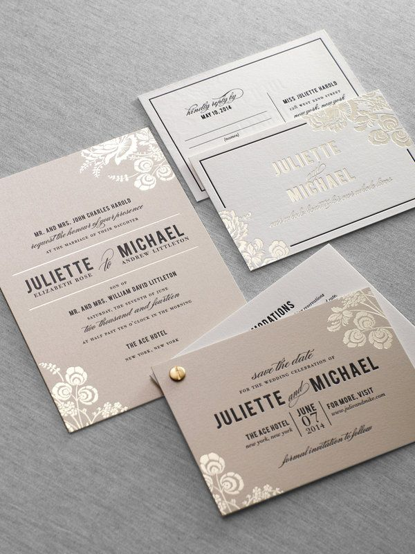 Foil stamped letterpress wedding invitation by Dauphine Press