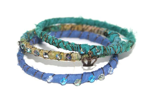 Boho Jewelry, Bangles, Bracelets, Silk Bracelet, Organic Jewelry, Bohemian, Rustic Jewelry, $40