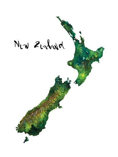 Nieuw Zeeland Aquarel Landkaart. New Zealand Watercolor Map.