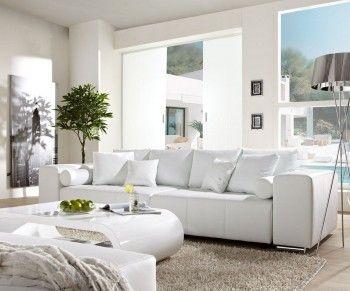 Big-Sofa Marbeya 290x110cm Weiss mit Schlaffunktion