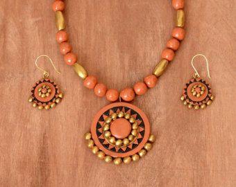 Terracotta jewelry - Indian jewelry - Polymer clay jewelry - Ethnic jewelry - Clay jewelry - Bollywood jewelry - Orange gold necklace set