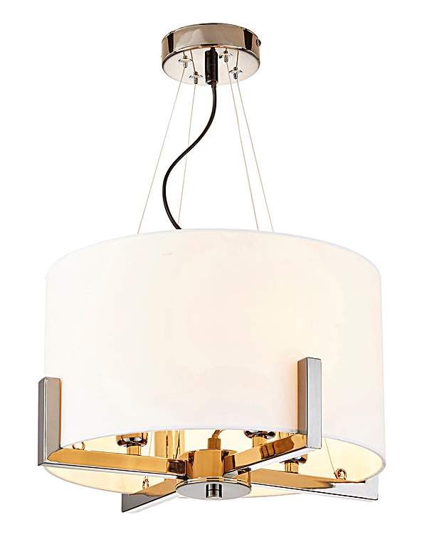 Samuel Chrome & Fabric 4 Ceiling Light