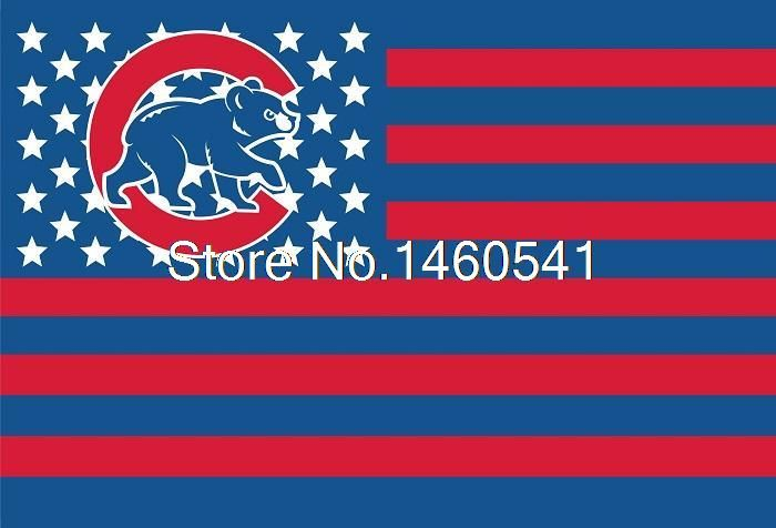 Чикаго Кабс Новая Нация Флаг Полосы 3ft x 5ft Полиэстер MLB Чикаго Кабс Баннер Летающий Размер № 4 144*96 см QingQing флаг