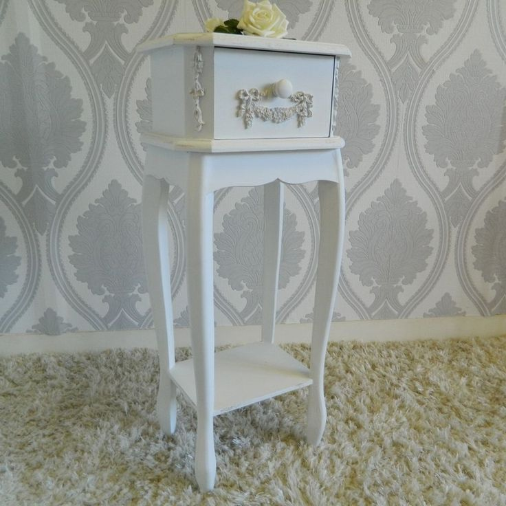 French White Slim Bedside Table Cabinet Bedroom Shabby Furniture Chic Ivory