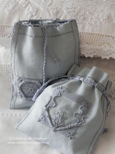 La maison du bonheur: Винтажная вышивка. Льняные мешочки.