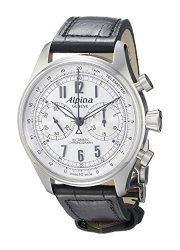 Alpina AL-860SCP4S6 Aviation Startimer Classic Chronograph Men's Black Leather Strap Watch