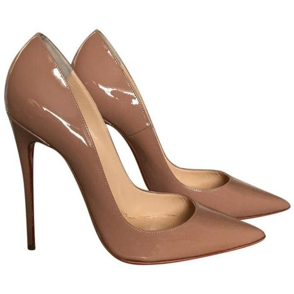 Christian Louboutin So Kate Patent Nude Pumps ($10) ❤ liked on Polyvore featuring shoes, pumps, patent pumps, nude court shoes, christian louboutin, patent leather pumps and nude patent shoes