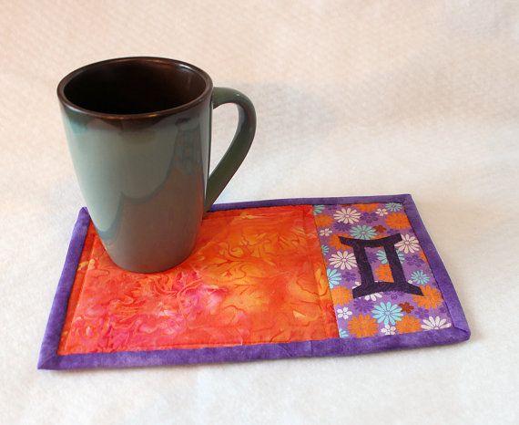 Gemini Symbol Mug Rug Zodiac by trgatesart on Etsy, $12.00