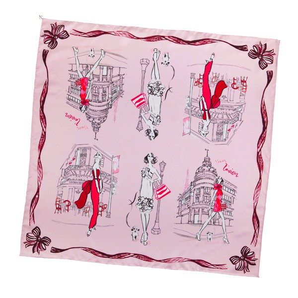 From macaroons at Laduree to shopping in the Marais, when it comes to our Paris scarf it's amour! An intricate and romantic pale pink scarf made of 100% silk twill. This scarf also features t…