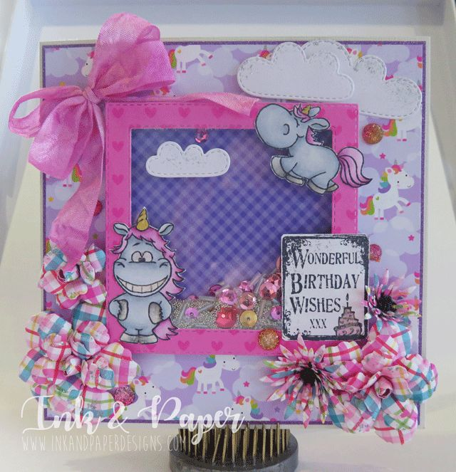 Unicorn Birthday Card... Gerda Steiner Designs Moody Unicorns and Doodle Bug Designs Papers! Shaker Card to boot!