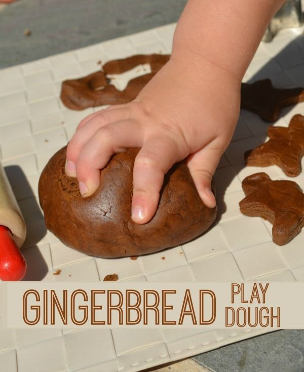 "Make Gingerbread Play Dough! Smells delicious! Smelled yummy but was SUPER sticky, had to just about triple the amount of flour. My girls said it smelled ""bad"" ;) They are not fans of the smell of molasses"