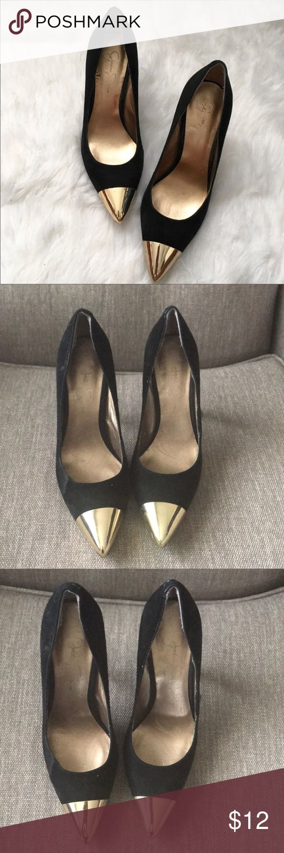 Jessica Simpson ' Dazed ' Pumps Preowned. No box. Black with gold cap toe pumps Jessica Simpson Shoes Heels
