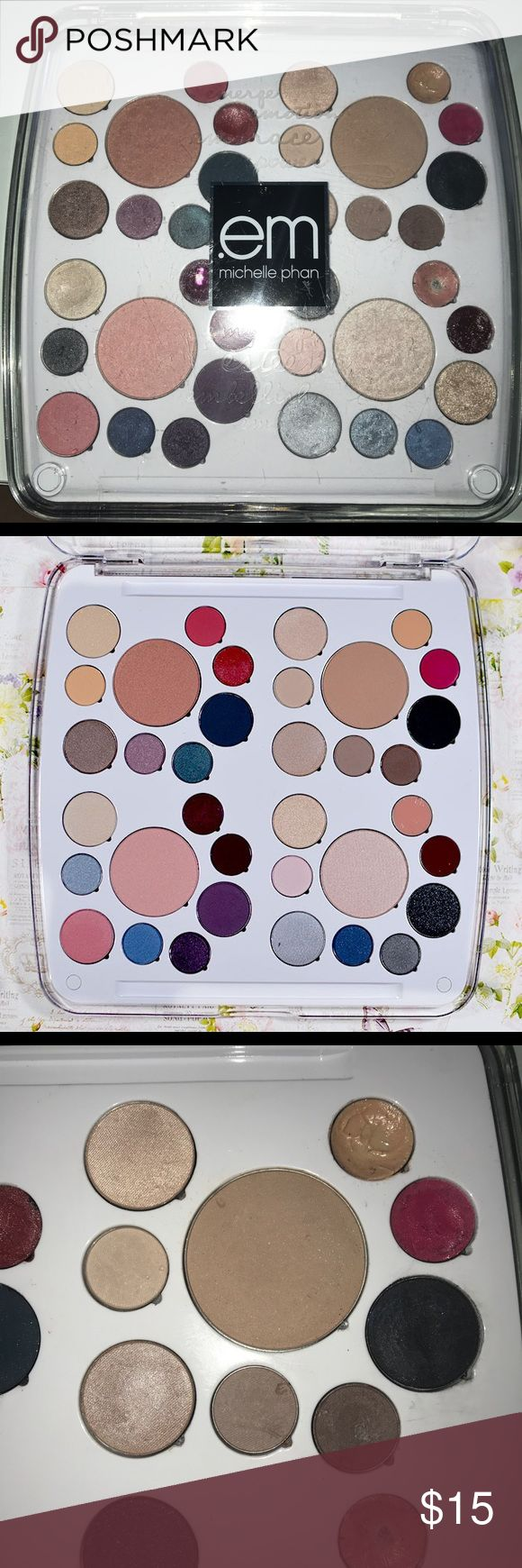 Em by Michelle Pham Love Life Pallette This palette has it all!!! 8 lip colors, 3 blushes, 1 bronzer, and 24 eye pigments! As you can see, there is some wear to the pigments and some are pretty used. However, in its entirety, most haven't gone much further than swatching and the quality of the makeup is exceptional Em Michelle Phan Makeup Eyeshadow