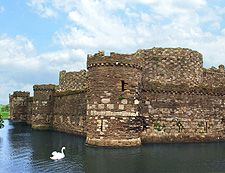 "Beaumaris Castle Moat with Swan Angelsey North Wales Last of the Edward I ""Iron Ring"" Castles"