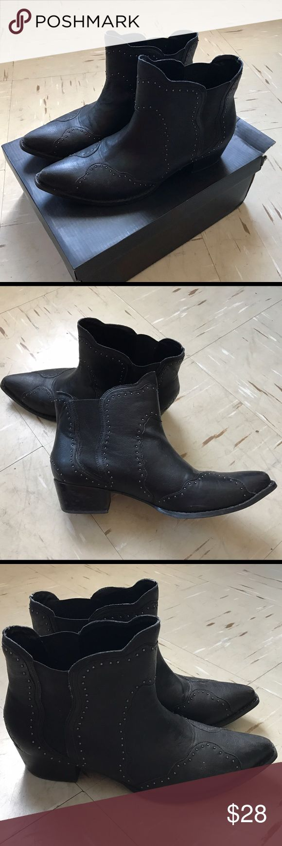 Black low ankle boot This ankle boot has the shape of a cow boy boot. It's pointy in the front and has detailing all around. The boot is in VERY GOOD CONDITION. Can pair up with anything and an eye catcher. I would receive many compliments when wearing them! Nasty Gal Shoes Ankle Boots & Booties