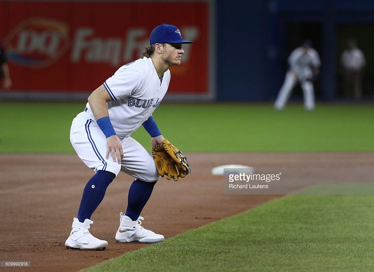 TORONTO, ON - SEPTEMBER, 23 Toronto Blue Jays third baseman Josh Donaldson (20) is sporting some fancy new shoes. The Toronto Blue Jays begin their last home stand of the season as they took on the New York Yankees at the Rogers Centre in Toronto. September 23, 2016