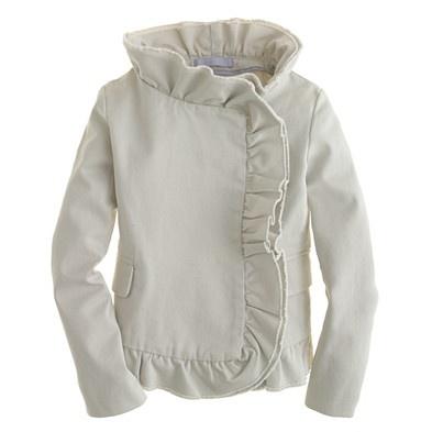 Girls' chino ruffle jacket (J.Crew): I love this jacket so much, I wish it came in my size.: Style, J Crew, Crew Cut, Ruffles Jackets, Girls Clothingaccessori, Chino Ruffleso, Kids, Jcrew, Crewcut