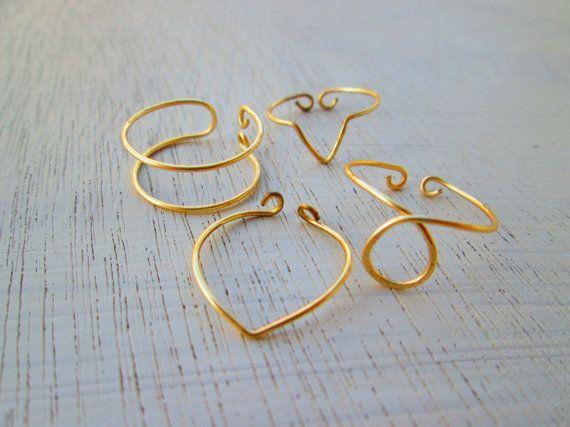 knuckle rings  set of 4 knuckle rings  adjustable by koskykon, $8.50