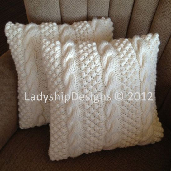Knit pattern pdf Cable knit pillow cover by LadyshipDesigns