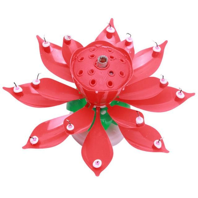 New Art Musical Candle Lotus Flower Happy Birthday Party Gift Rotating Lights Decoration 8/14 Candles Lamp QB874164