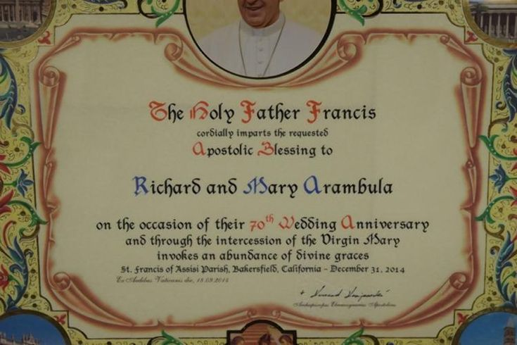 This letter sent to the couple from Pope Francis has been deemed Richard Arambula's favorite.