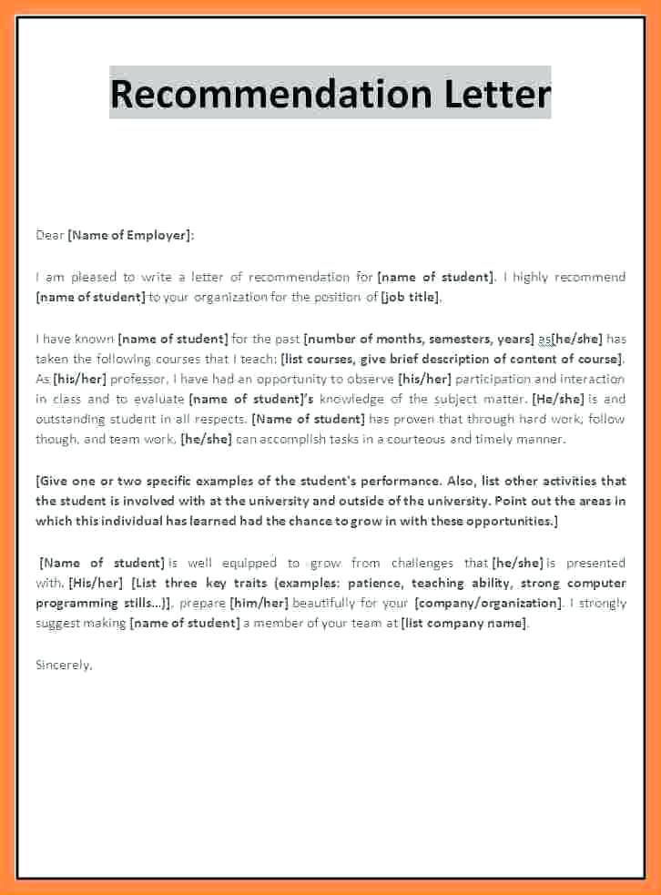Image Result For Teacher Recommendation Letter For Student Template