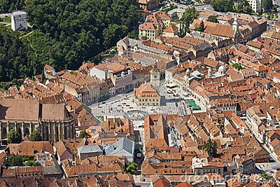 Aerial view of Council Square, Brasov, Romania