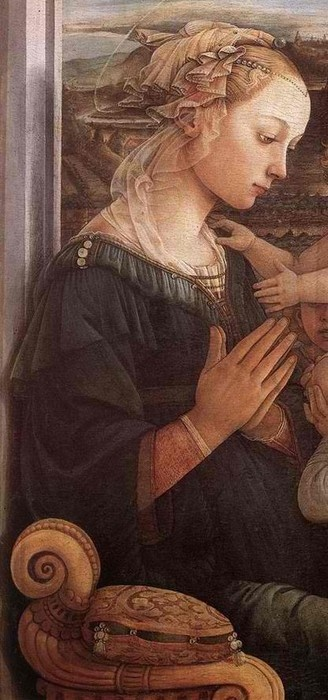 Botticelli. Detail of Madonna with the Child and two Angels. 1465.