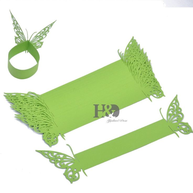 120PCS Green Butterfly laser cut paper napkin Rings Holders Party Wedding Favors for Banquet Serviette Guardanapo Decoration(4)