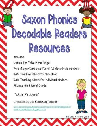 If you use Saxon Phonics and Data Binders then this is the resource pack for you!  This pack includes: - Labels for Take Home bags - Parent signature slips for all 16 decodable readers - Data Tracking Chart for the class - Data Tracking Chart for individual binders - Phonics Sight Word Cards - Data Tracking Chart for Phonics Sight Words www.teacherspayteachers.com/store/koalakdgteacher $