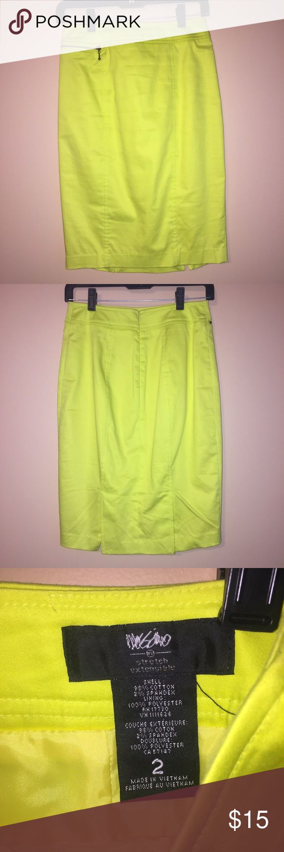 Mossimo Neon Yellow Skirt Cute bright neon yellow skirt. In good condition. **If making offers, please use the offer button.** Thanks! Mossimo Supply Co Skirts Pencil