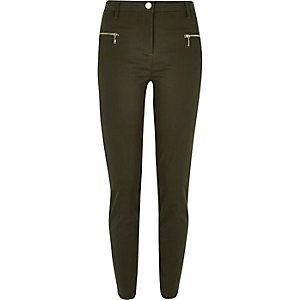 Kaki skinny trousers van keperstof met ritsen