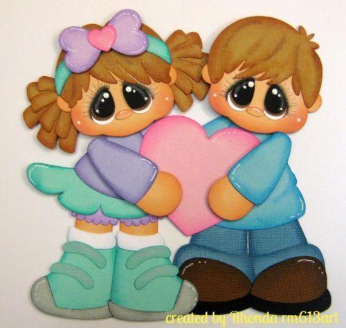 Valentine's Day boy / girl paper piecing premade scrapbook page-Rhonda rm613art