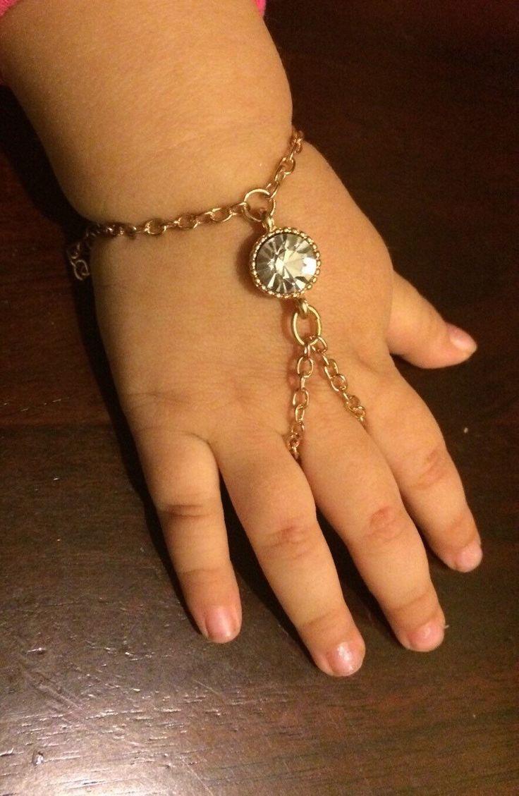 Baby girl round crystal slave Bracelet or Hand Harness ...