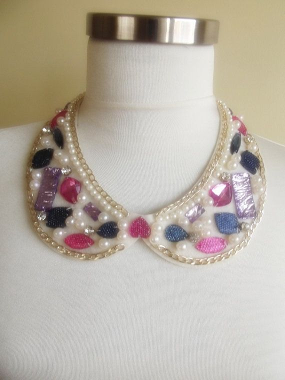detachable peter pan collar necklace beads bridal by trendycollars, $21.00