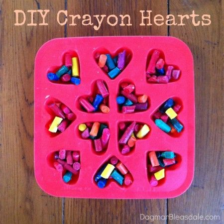 makes these out of all those broken crayons... DIY Crayon Hearts for Valentine's Day