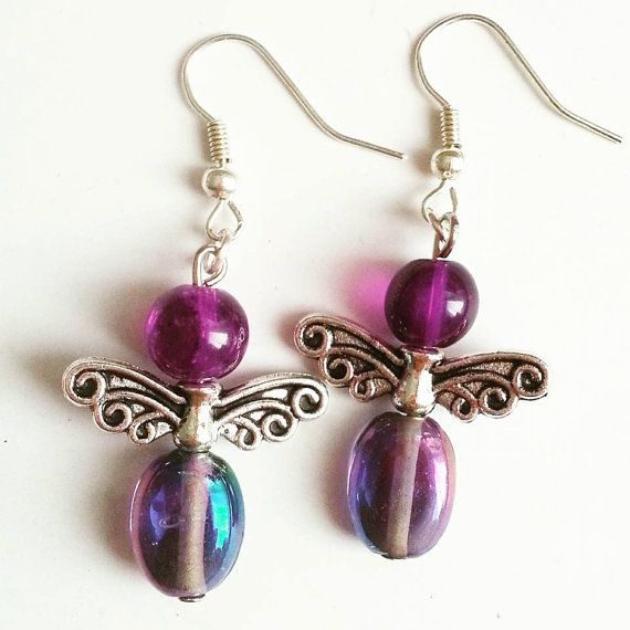 Silver Purple Angel  Earrings by AaishasCreativeMess on Etsy