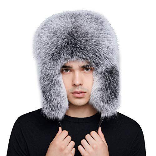db52055decc16 BeFur Women Winter Hat Genuine Fox Fur Russian Trapper Ushanka Hats Lamb  Leather Caps Bomber Hat SIZE – Free size. Fit head circumference 52cm-60cm.